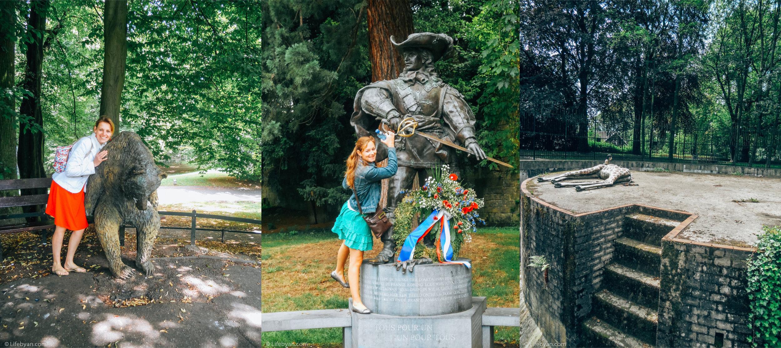 Inge en ik in het Stadspark : de beelden van de berenkuil, d'Artagnan en de giraf.