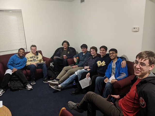 A whole bunch of really nice boys doing their civic duty, watching our first ever liveatreamed Glee Club Presidential Debate.  Our elections for elected officer positions are this Sunday, and we've got a whole bunch of great candidates running this year #h2glee