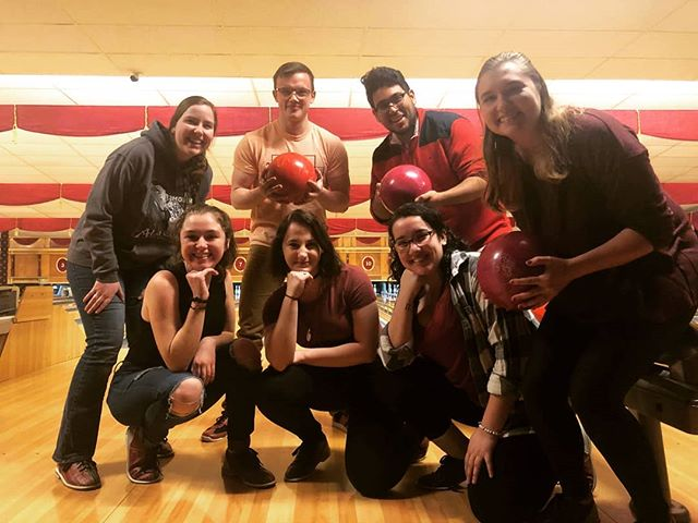 A couple of singing nerds getting their bowl on with @pitt_wce at Arsenal Lanes #h2glee