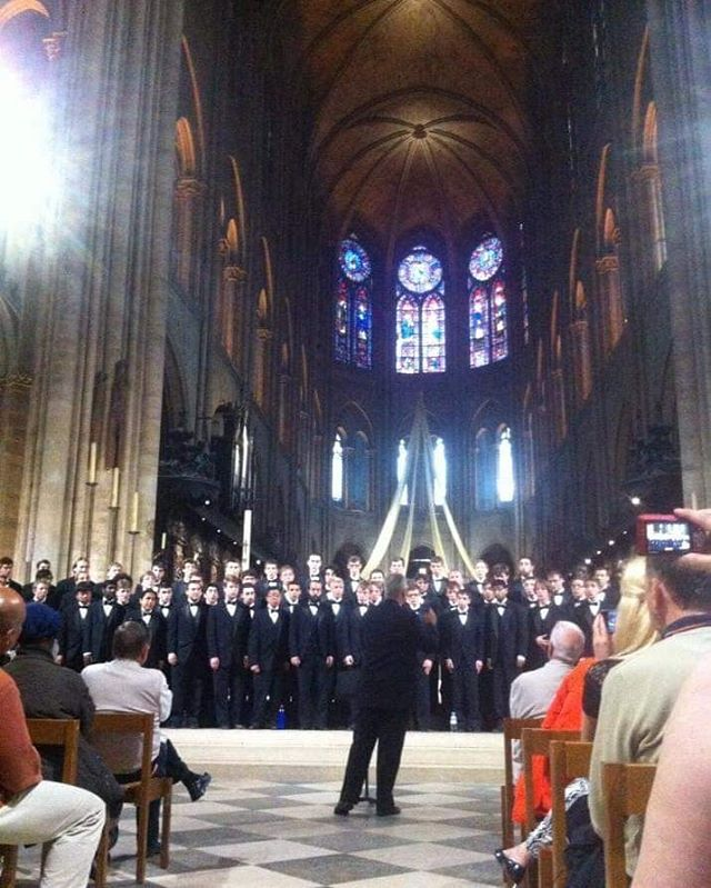 Throwback Thursday to the Glee Club's performance at the Notre Dame Cathedral in 2013.  We hope that the building can be restored to it's full glory after the tragic fire, and we're thankful for the opportunity we had to sing in the historic building #tbt #h2glee