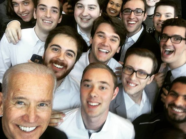 Throwback Thursday to Glee Club performing for then-Vice President and current Presidential Candidate, Joe Biden!  Also, we performed for him when he was a Delaware Senator in 1976, but we didn't have any pictures :( #tbt #h2glee #joebiden