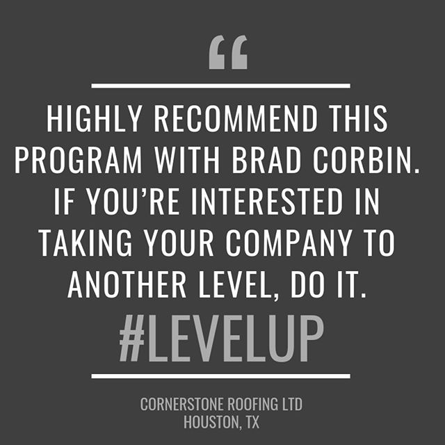 """""""Highly recommend this program with Brad Corbin. If you're interested in taking your company to another level. Do it. #levelup"""" #salessimplified #elevatethegame #hirevpro"""