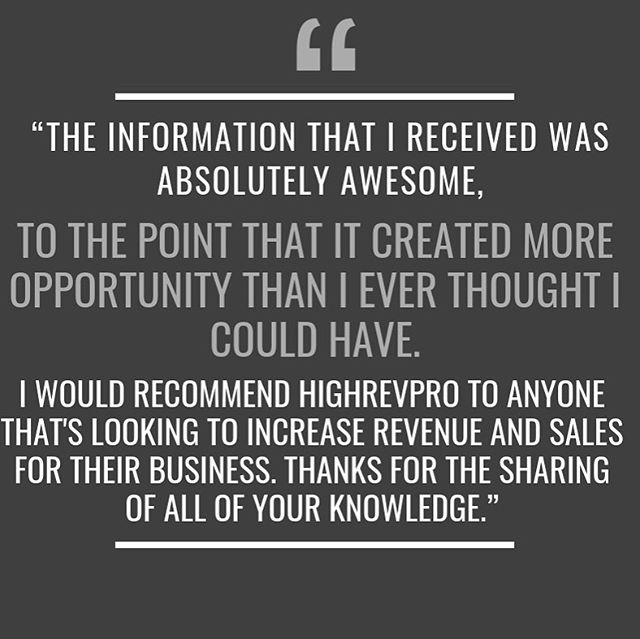 """""""The information that I received was absolutely awesome, to the point that it created more opportunity than I ever thought I could have. I would recommend HighRevPro to anyone that's looking to increase revenue and sales for their business. Thanks for the sharing of all of your knowledge."""" . . . . . . . . . #roofingcontractor #roofinglife #roofing #roofingworld #roofer #rooferslife #roofingcontractors #roofingcontractors #revenuestreams #roofingtechnology #cuttingedgetechnology #rooferlife #roofingsales #roofsales #roofingworld #roofingcompany #roofingsolutions #texasroofing #texasroofers #dfwroofing #technologycompany #roofingculture #roofingtech #revenue #roofersofinstagram"""