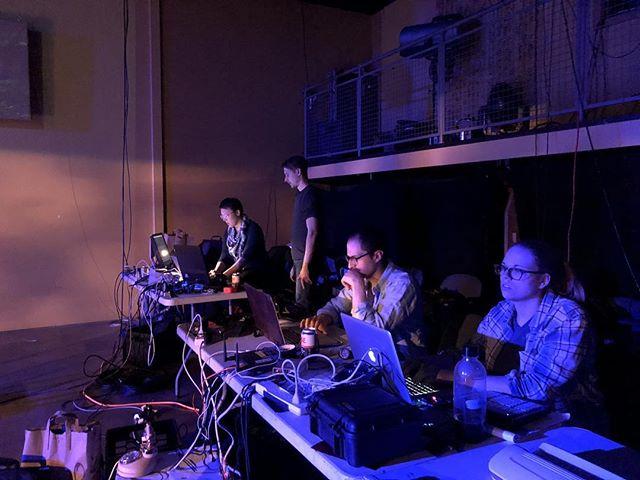 Designers at tables. Making magic. Performance tomorrow 7pm @joesmovement • • #dance #design #film #site #community #lighting #projection #sound #scenic #1mileradiusproject #followtheorange #joesmovementemporium