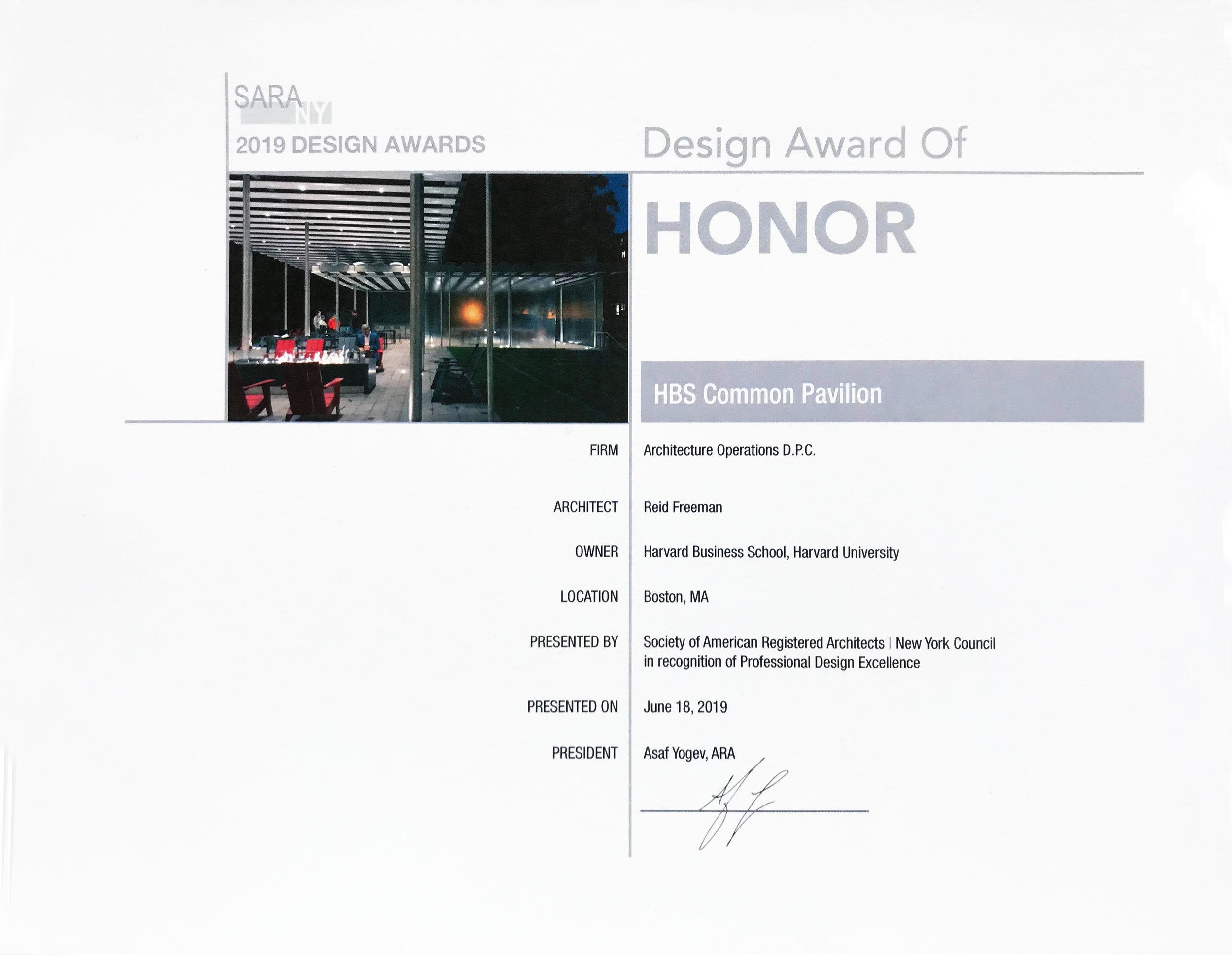 SARA NY Design Award of Honor 2019