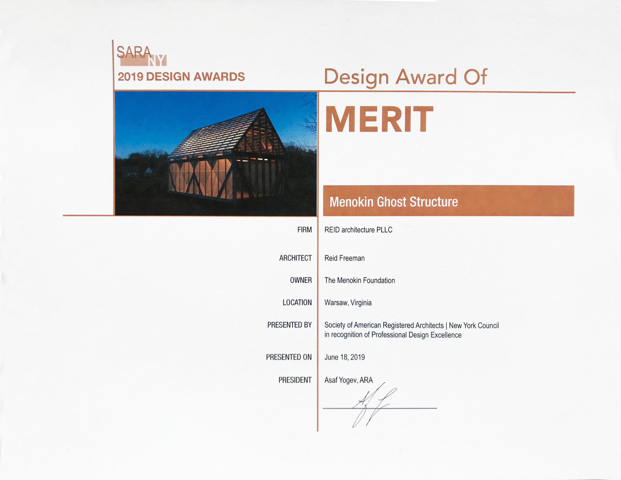SARA NY Design Award of Merit 2019