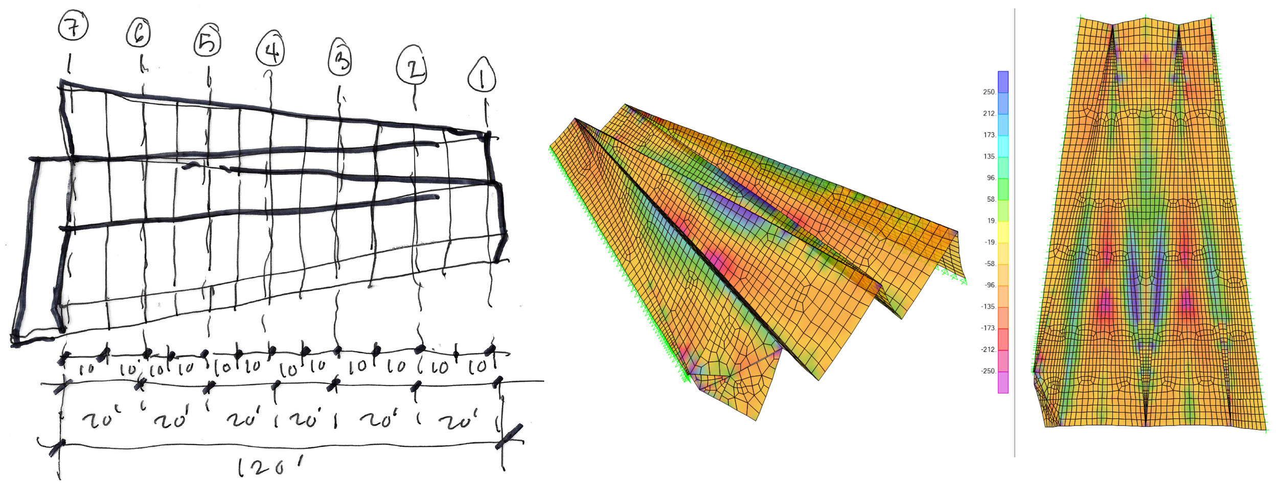 LEFT: CLT PANEL DIAGRAM; RIGHT: STRESS ANALYSIS DIAGRAMS OF CLT ROOF