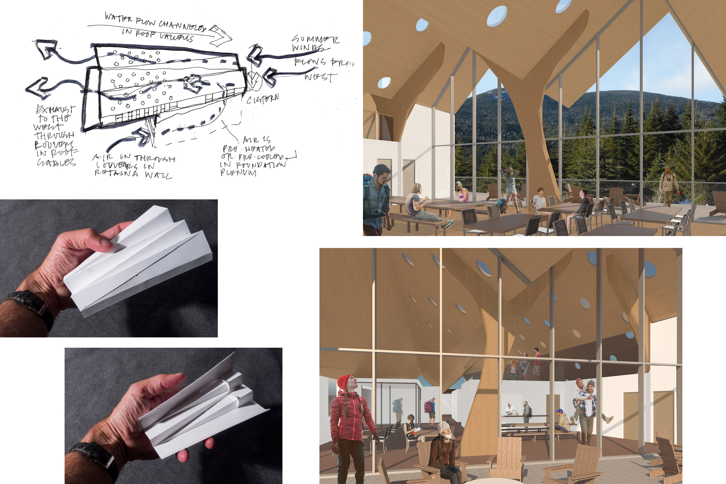 LEFT: CONCEPT FOR PASSIVE SYSTEMS (TOP), TOP AND BOTTOM SIDE VIEWS OF ROOF (BOTTOM); RIGHT: DINING HALL VIEWS