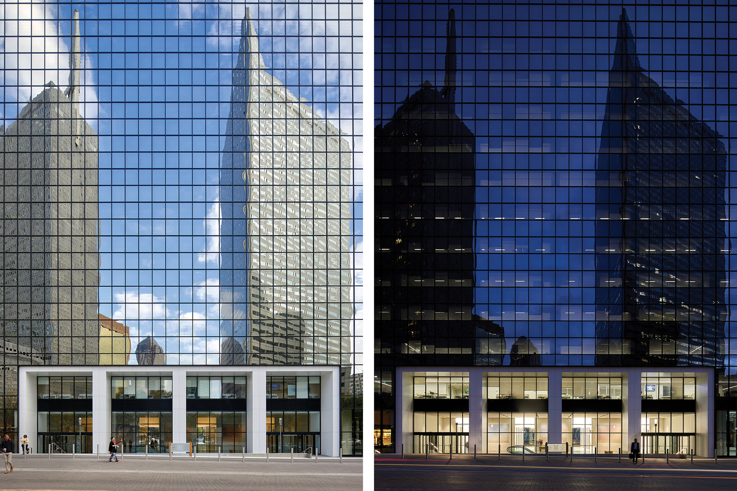 DAY AND NIGHT VIEWS OF ELEVATION FACING THANKSGIVING SQUARE