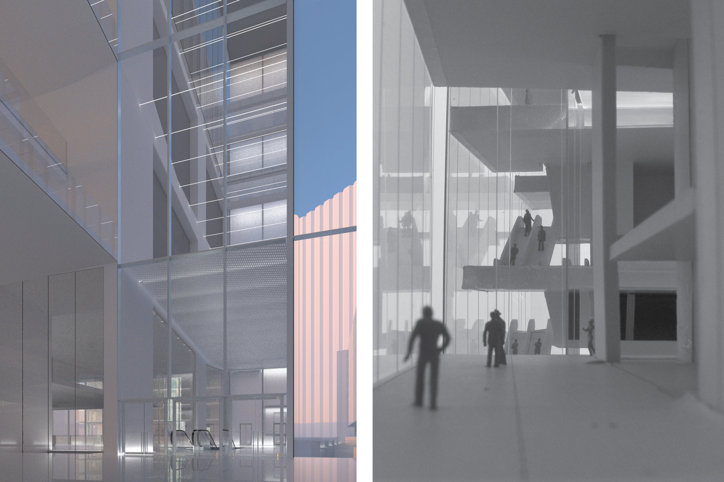 LEFT: VIEW OF SOUTH CINEMA LOBBY; MODEL PHOTO OF NORTH LOBBY