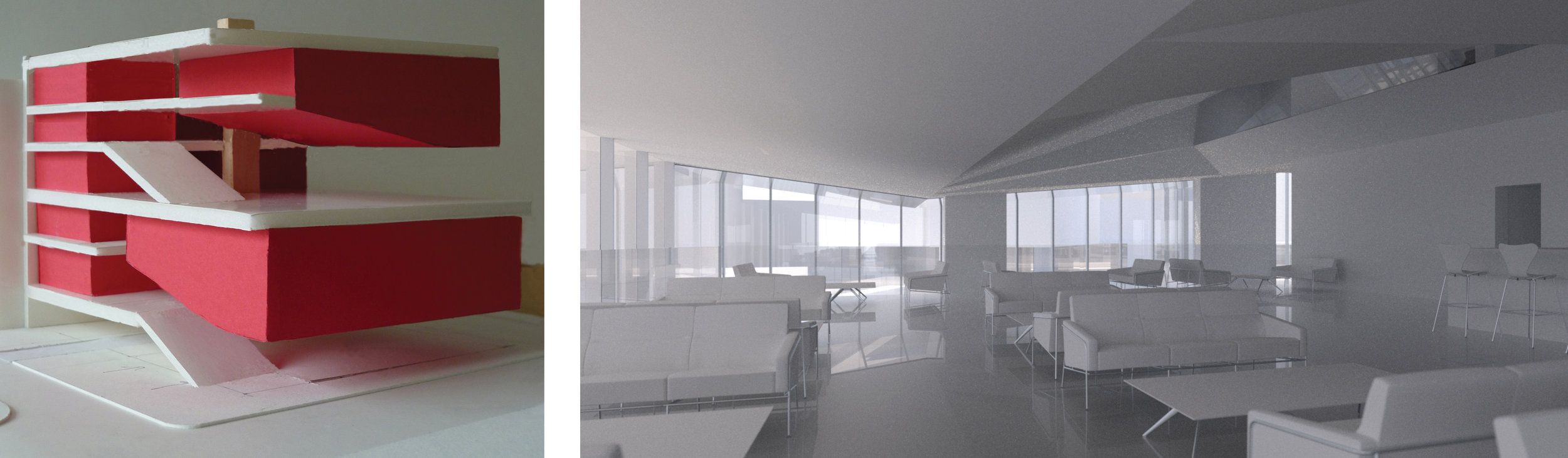 LEFT: CONCEPT MASSING MODEL; RIGHT: FILM CENTER BAR AND LOUNGE