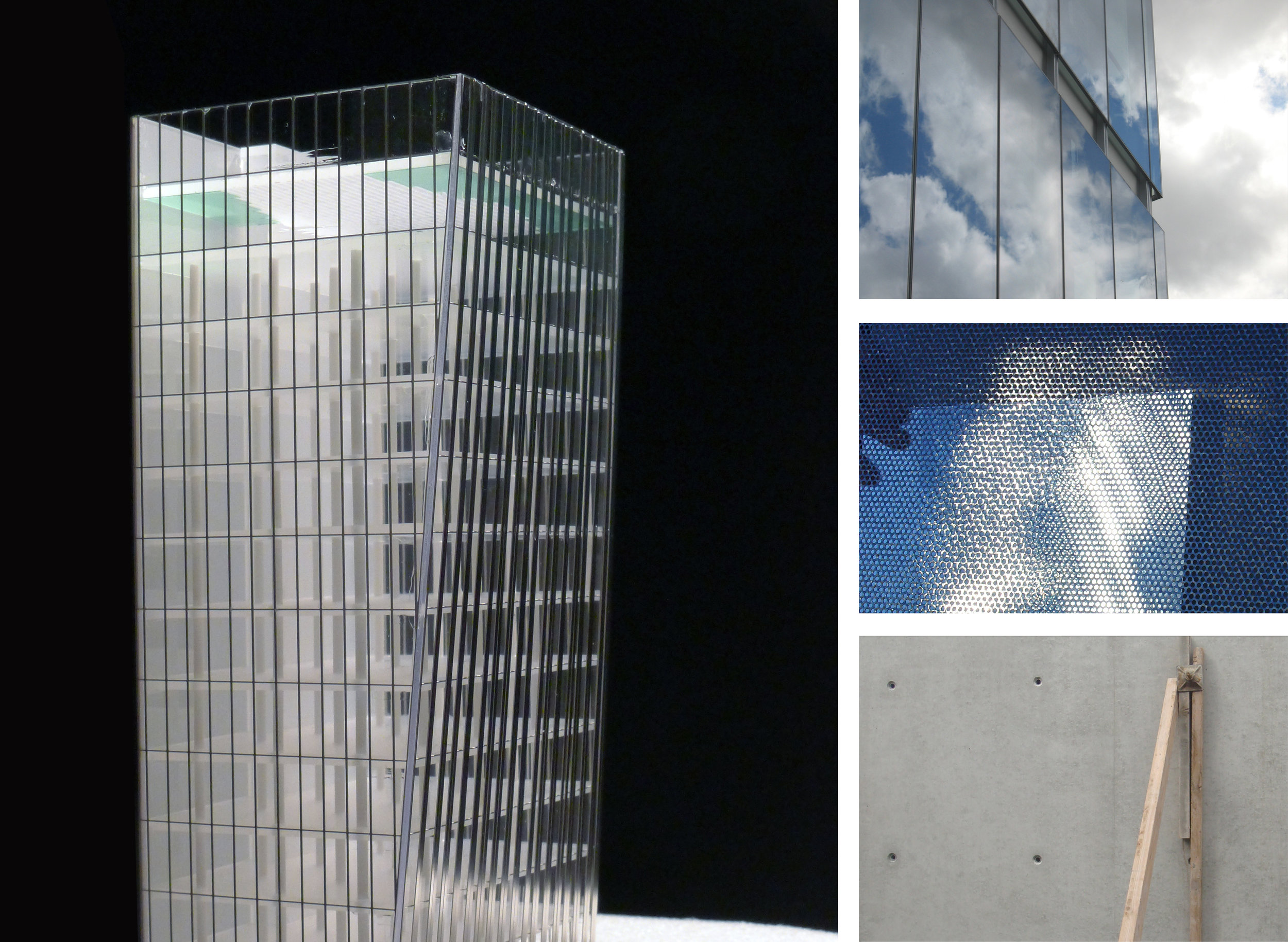 LEFT: MODEL DETAIL; RIGHT: LOW IRON GLASS (TOP), PERFORATED METAL (CENTER), SITE CAST CONCRETE (BOTTOM)