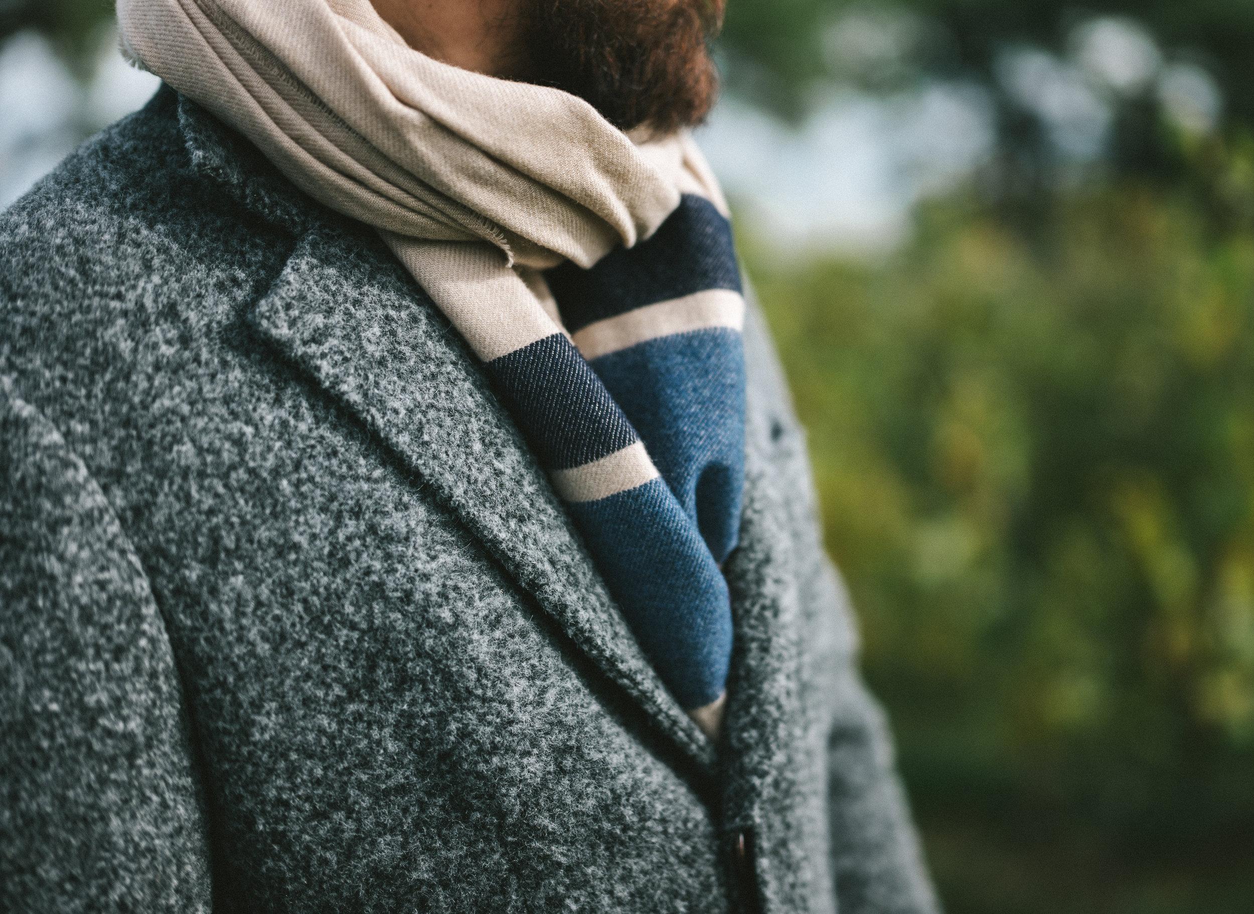 Brunello Cucinelli - Alpaca Coat. Cashmere Striped Blanket Scarf. Wool Flannel Flat Cap.