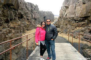 Walking between two continents, Þingvellir National Park, Iceland