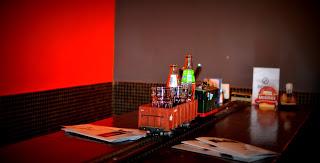 Drinks are served, Vytopna Railway Restaurant, Prague