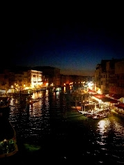 The Grande Canal - at night from Rialto Bridge