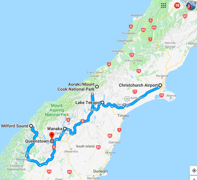 Map of our South Island road trip