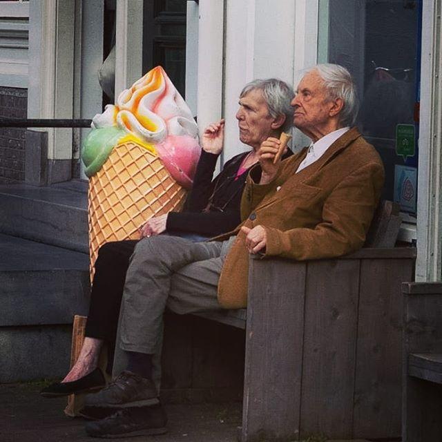 """ice-cream philosophers"" #iamamsterdam #fujistreetphotography"