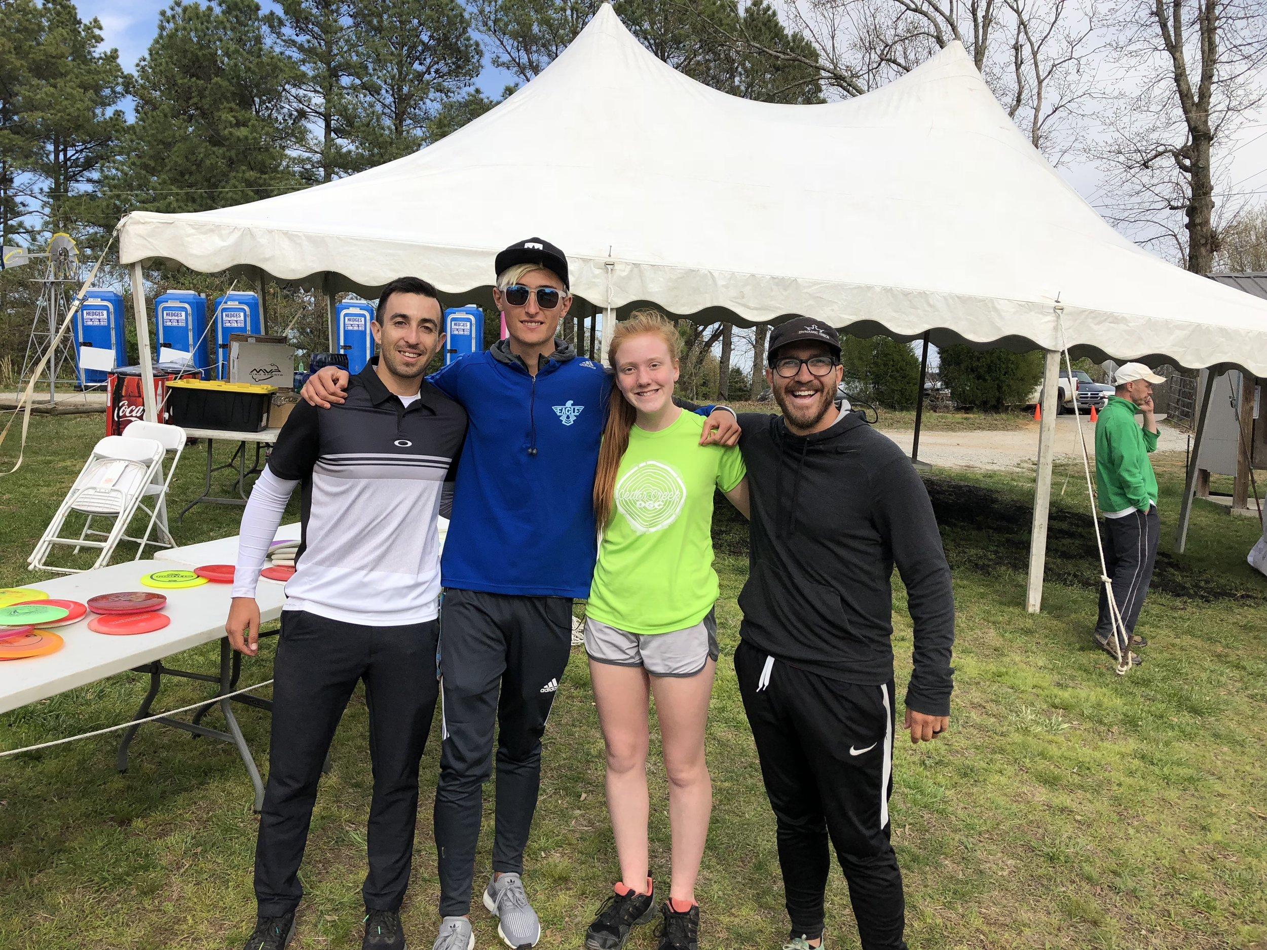Paul McBeth, Eagle McMahon, Me, and Eric Oakley practicing before the Jonesboro Open 2018