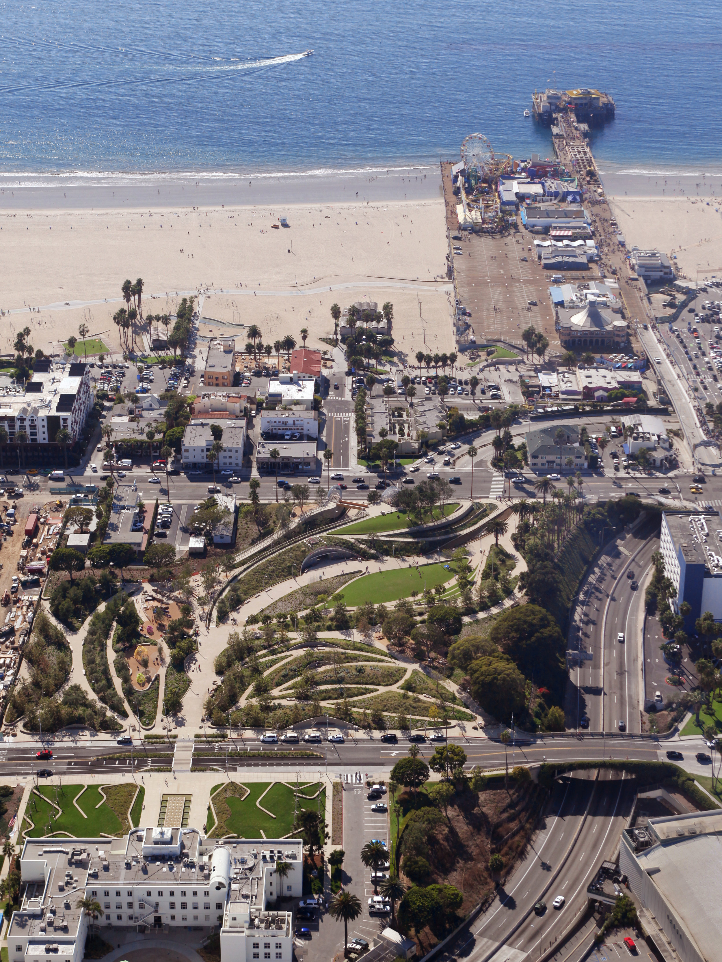 Tongva Park in Santa Monica from above.