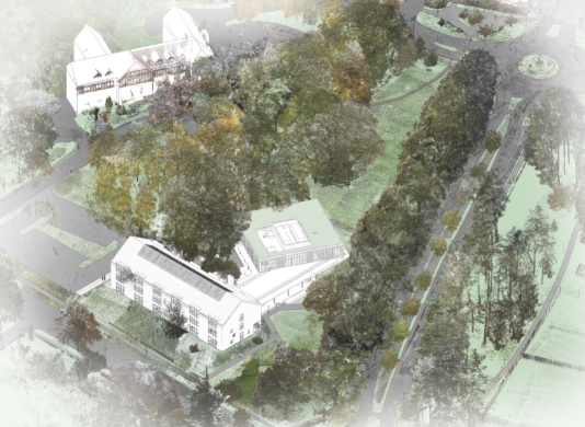 Aerial rendering of the Institute for the Liberal Arts and Inn