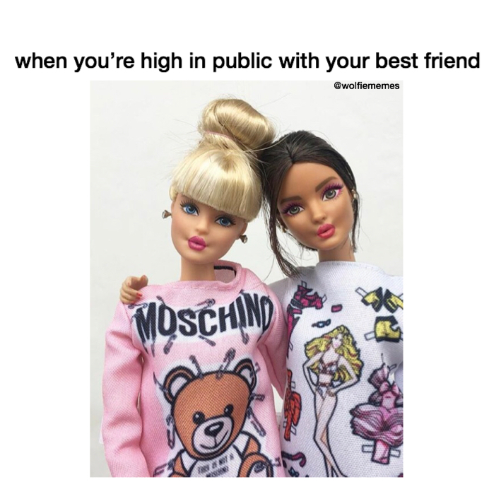 "Reads: ""When you're high in public with your best friend.""; Image: two Barbie dolls wearing pajamas and messy buns."