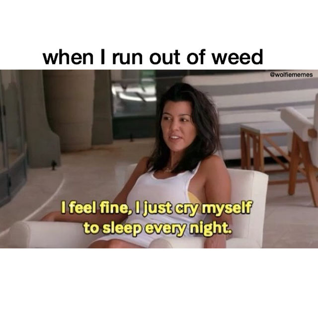 "Reads: ""When I run out of weed"", Image: Kourtney Kardashian and text reads ""I feel fine, I just cry myself to sleep every night."""