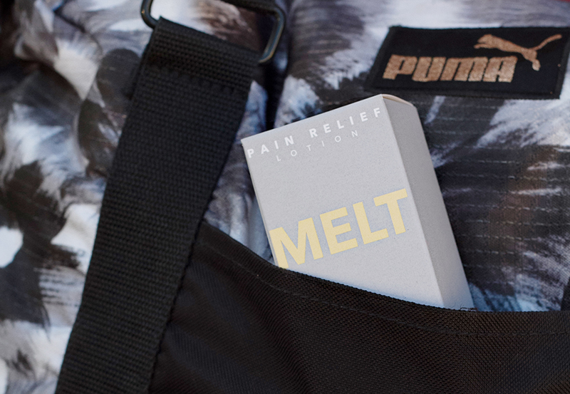 Kush Queen Shop's Melt CBD Relief Lotion packed in a gym bag, ready for your cbd post workout recovery.
