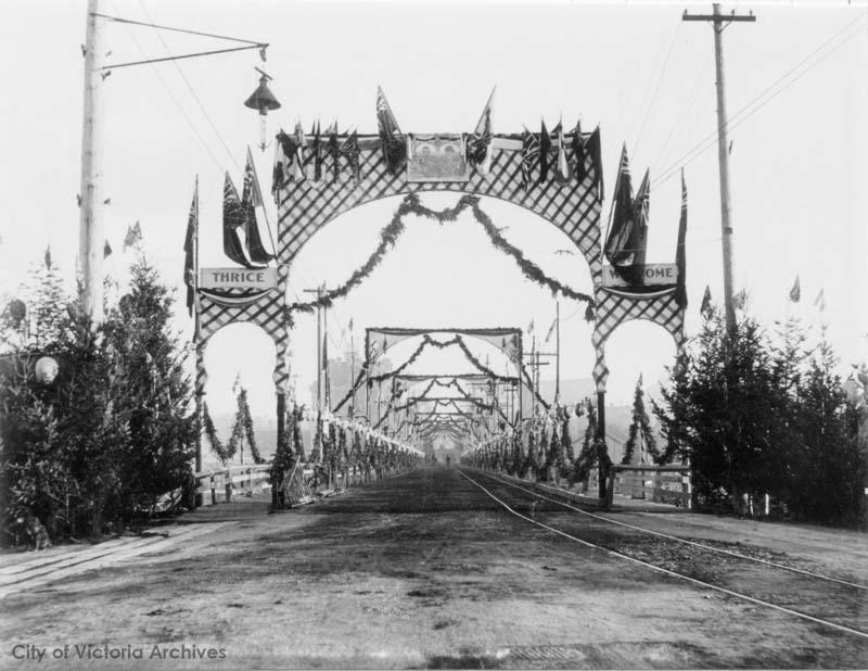 Rock Bay bridge from 1901, decorated because the Royals were paying a visit. Courtesy of the City of Victoria Archives.