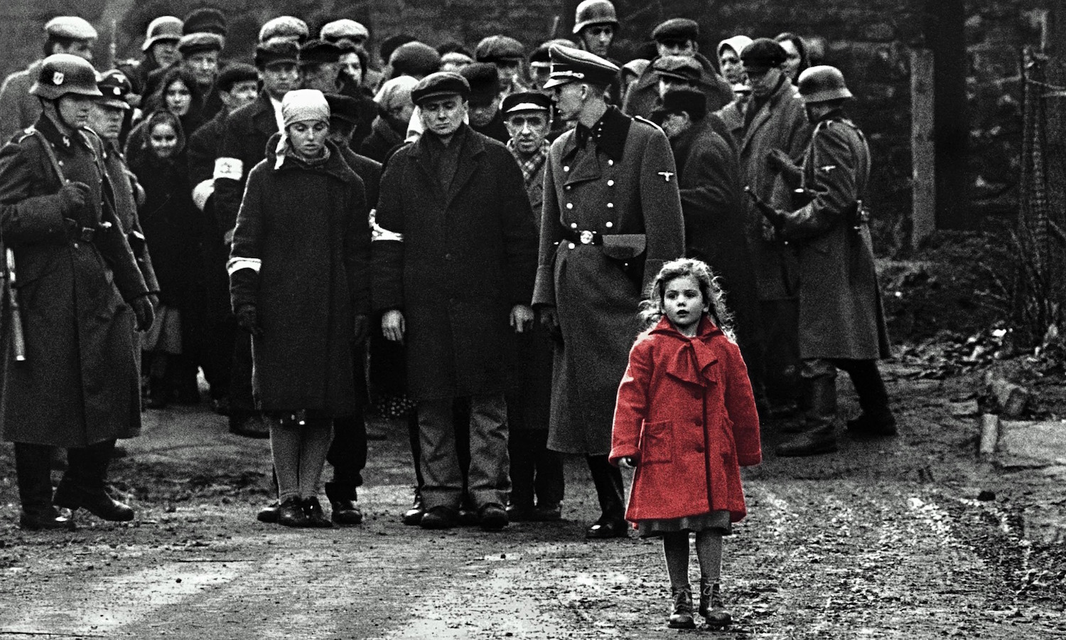Oliwia Dabrowska as the little girl in the red coat in  Schindler's List
