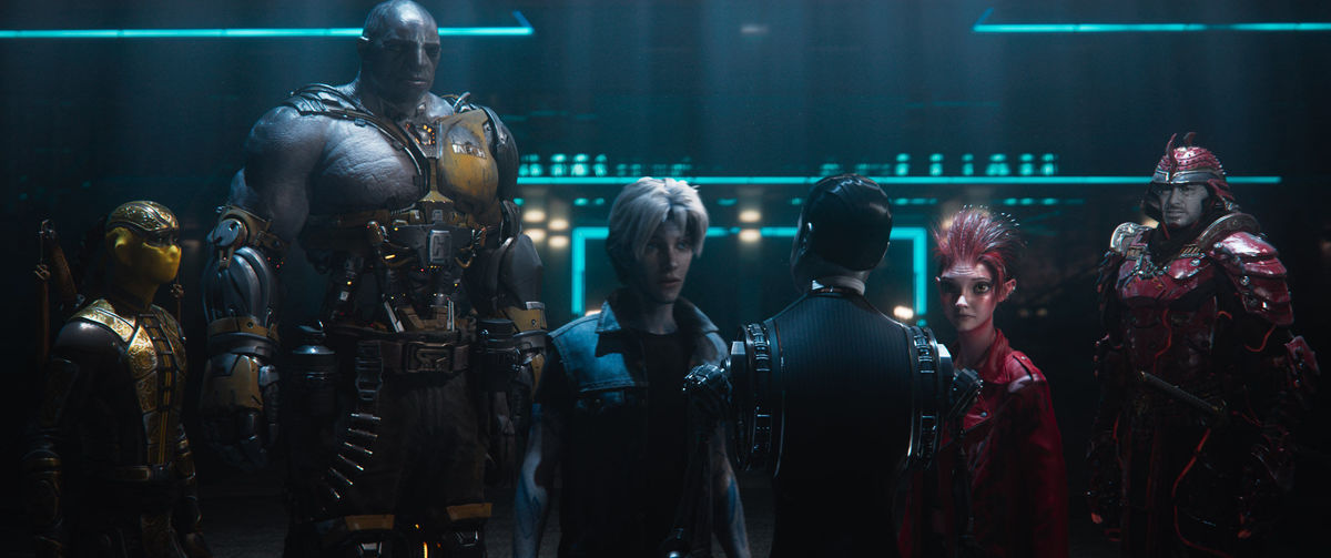 The High Five inside the OASIS, from left to right: Sho (Philip Zhao), Aech (Lena Waithe), Parzival (Tye Sheridan), Art3mis (Olivia Cooke), and Daito (Win Morisaki)