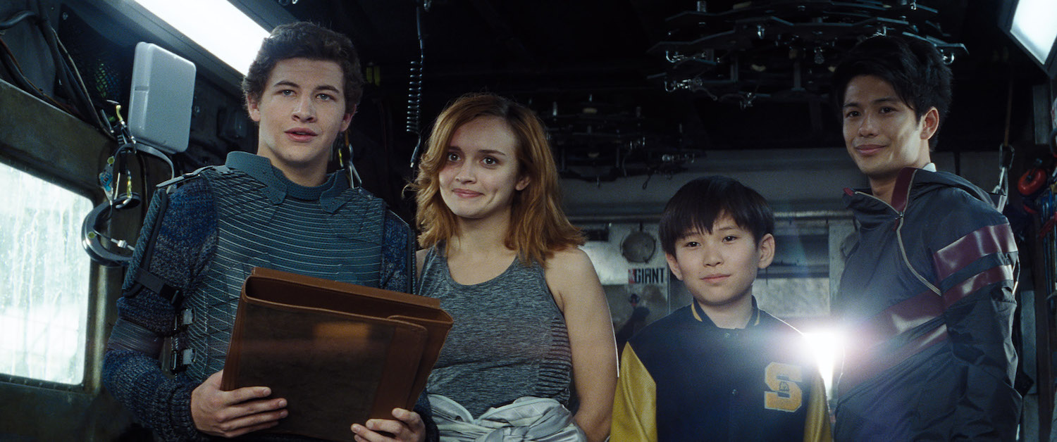 From left to right: Tye Sheridan, Olivia Cooke, Philip Zhao, and Win Morisaki in  Ready Player One