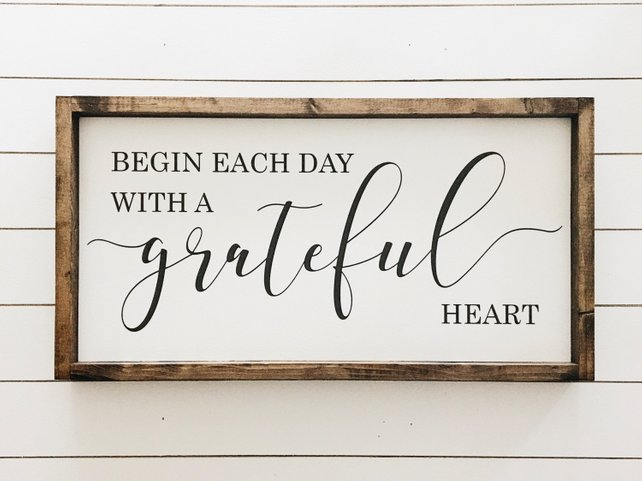 start each day with a grateful heart sign etsy