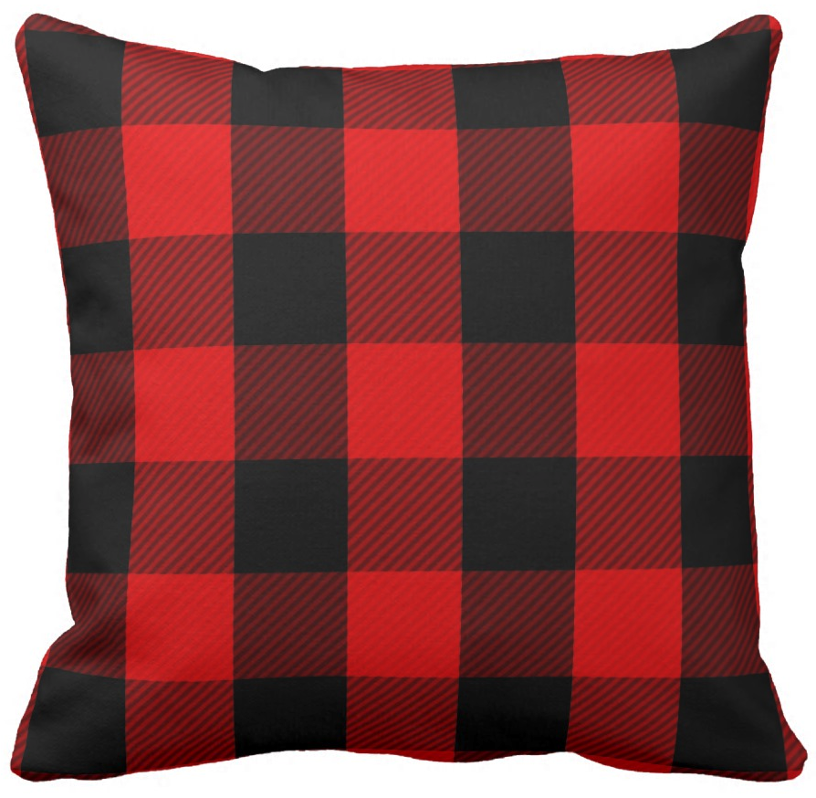 red and black buffalo checkered throw pillow