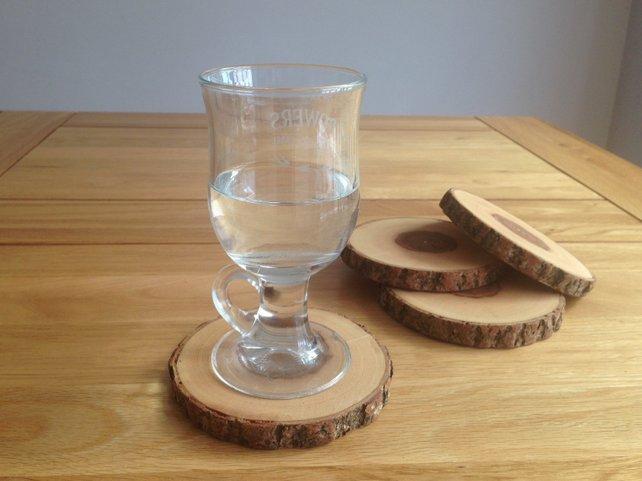 Handmade Wood Coasters Set of 4 Rustic Wood Coasters Drink Coasters Tree Branch Slices With Bark UK Seller