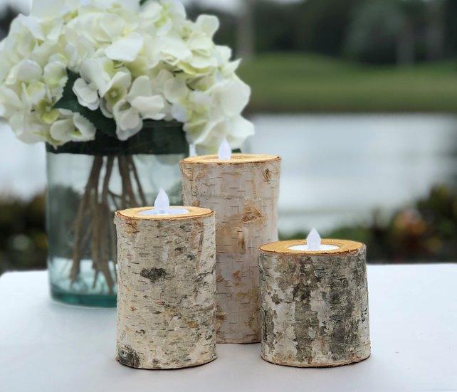 Birch Bark Log Candle Holders - Set of 3 - Votive Tea Light - Wood Rustic Chic - Wedding Centerpiece