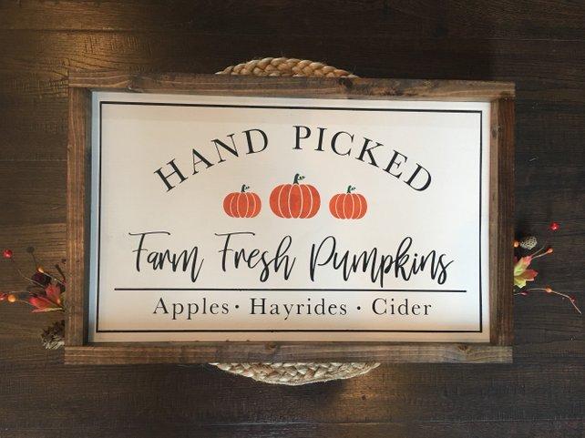 Hand picked pumpkin sign
