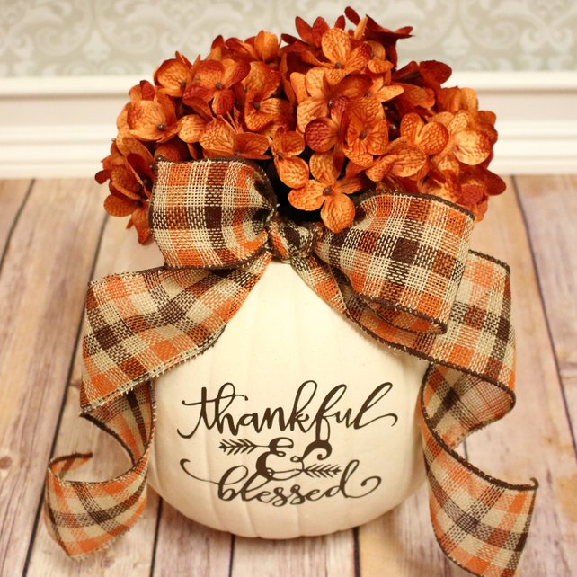 """Cream, Decorative, Faux, Pumpkin with Large, Decorative Bow, Realistic, Orange, Hydrangea Flowers and """"thankful & blessed"""" Quote"""
