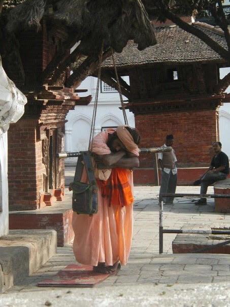 A Hindu Sadhu asleep in Kathmandu