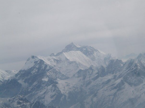 Mount Everest from the cockpit of a small aeroplane during a short flight from Kathmandu.