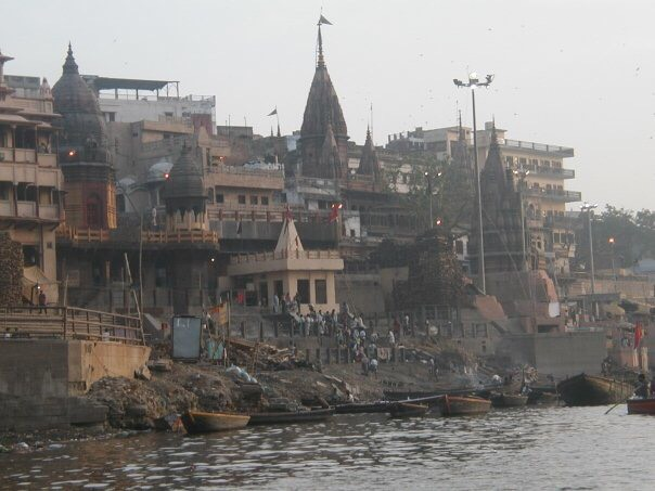 The funeral ghat as seen from a boat on the River Ganges, Varanasi.