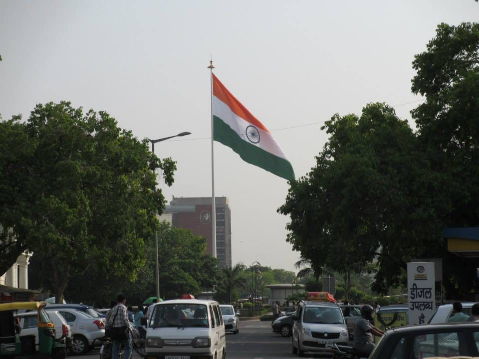 The flag of India, flying at Rajiv Chowk (also known as Connaught Place), in New Delhi.