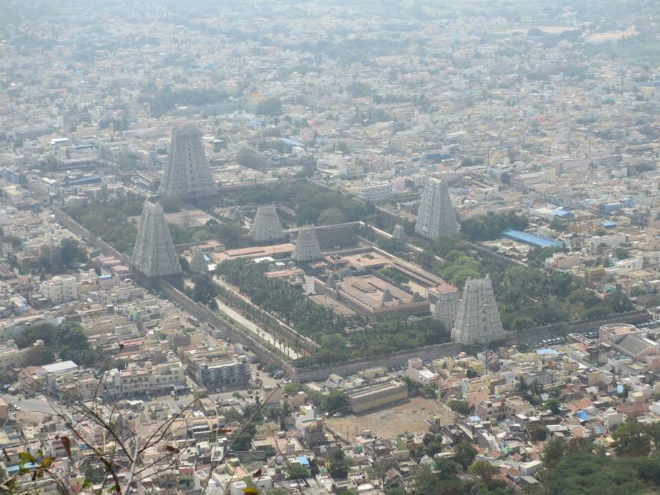 A view of the Arunachaleswarar Temple from Mt. Arunachala, Tiruvannamalai.