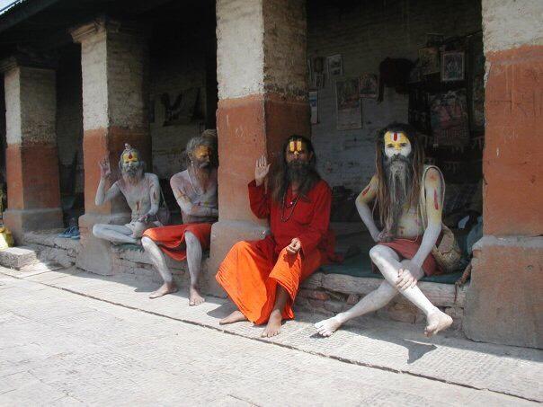 Four (rather stoned) Hindu sadhus in Kathmandu.