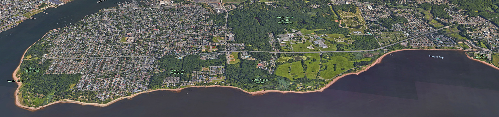 Aerial views of the south shore of Staten Island