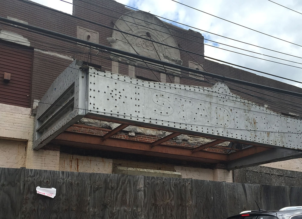 The abandoned Stadium Theatre, built in 1927, has undergone numerous incarnations—first as a movie theater, later a live music venue, and finally a roller rink.
