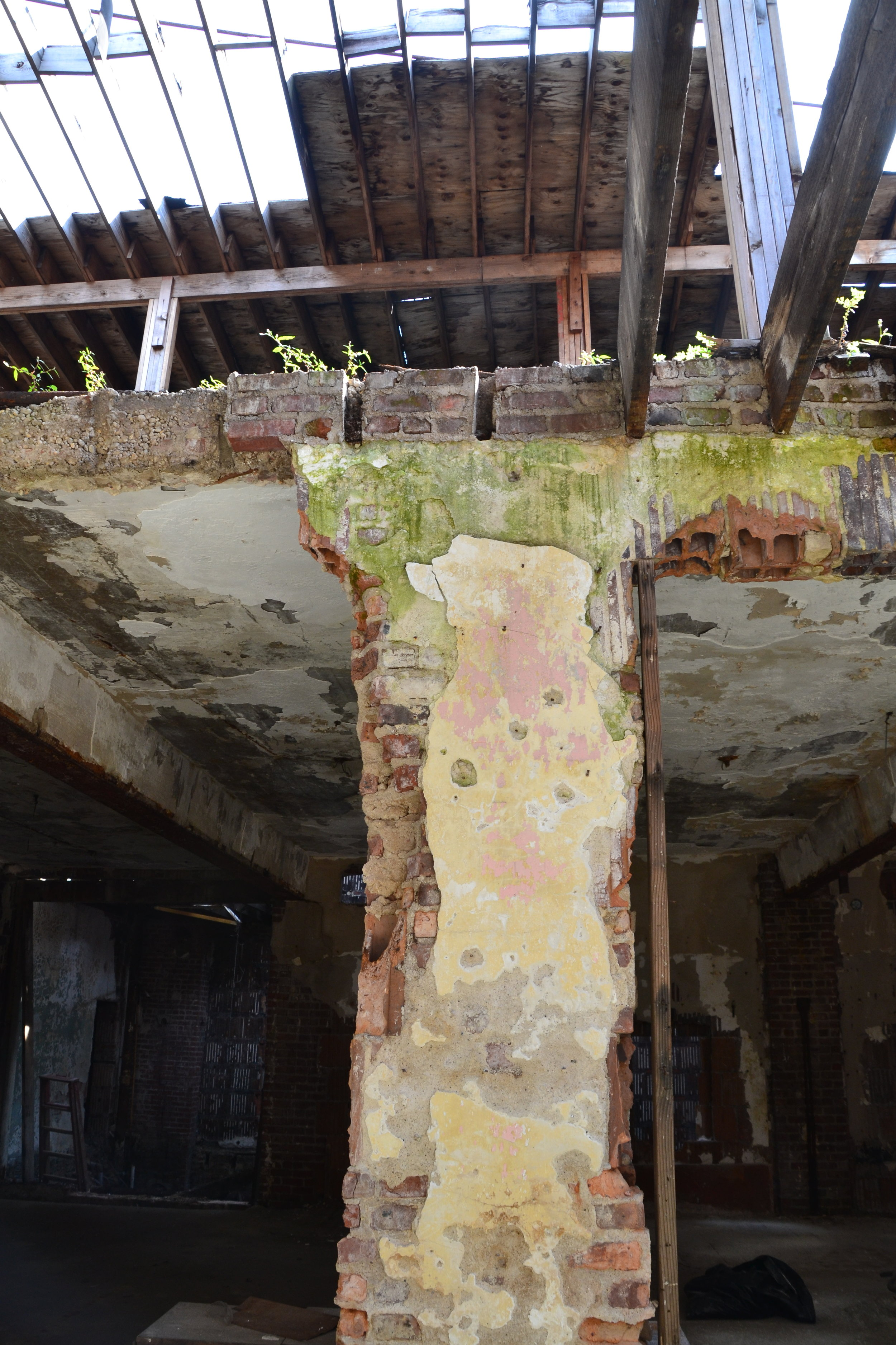Layers of plaster evoke the Stadium's multiple entertainment uses over the decades.