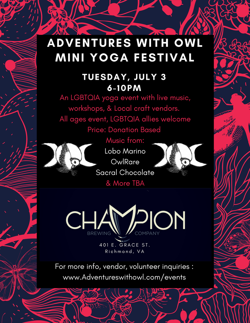 Join us on July 3rd from 6-10pm at Champion Brewery located at 401 E Grace St, Richmond, VA 23219. We will be hosting live music from Lobo Marino, Sacral Chocolate, OwlRare, and More TBA.   Lobo Marino:   www.Lobomarinomusic.com    Sacral Chocolate:   Sacral Chocolate Facebook Page   OwlRare:   www.Owlrare.Bandcamp.com    We will also be showcasing various local vendors, links will be posted as available.    For vendor, volunteer, or general inquiries please fill out this application by July 1st, 2018   https://goo.gl/forms/hpF9SMZOkdRT0OCR2