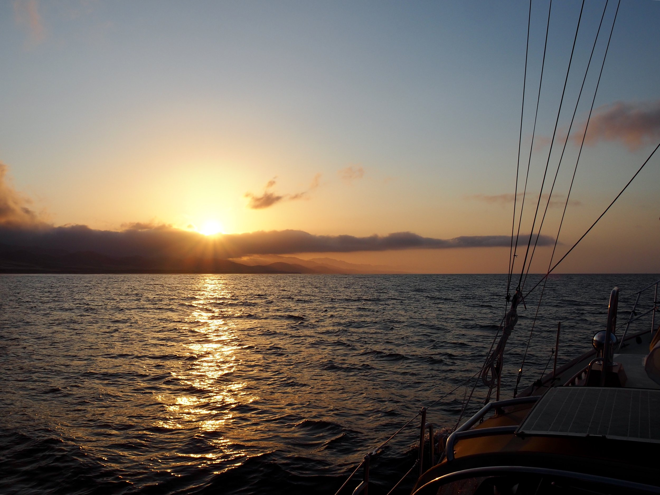 With the dawn, we transitioned from Northern California sailing to Southern California sailing
