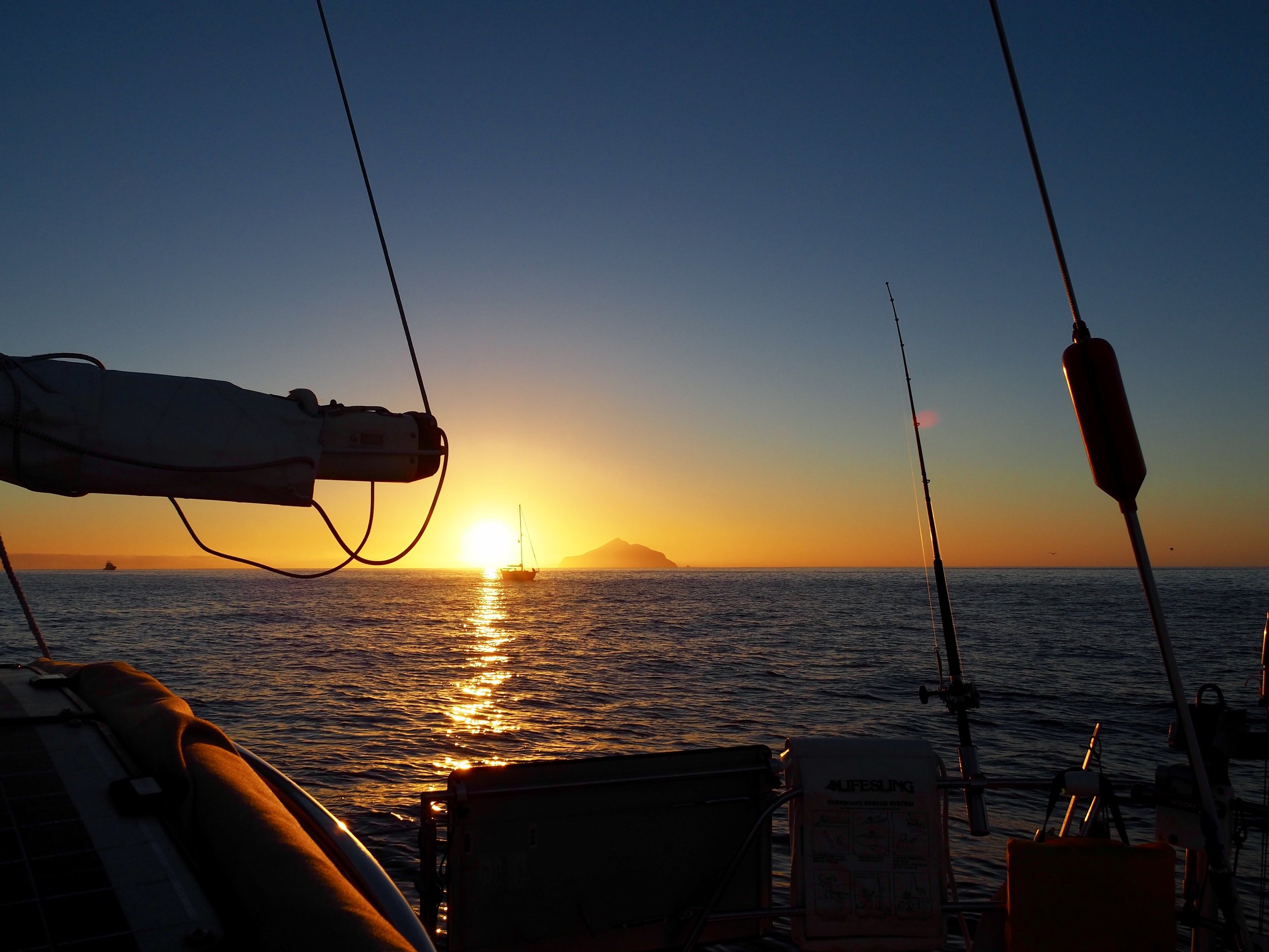 Sunrise from Smuggler's Cove, looking out at Anacapa